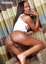 Sexy black tgirl Kayla Biggs likes to get off and have a great time playing with herself. She has a great body, nice tits and a big cock.