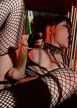 Amazing post op Danielle Foxxx posing in a cage