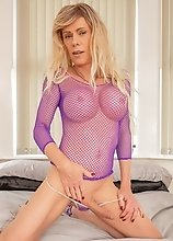 Joanna Jet - Caught in Purple Fishnet and Heels