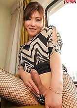 Japanese tgirl Mai Ayase is looking hot in this episode of her erotic tales, wearing fishnet pantyhose and pumps, she puts on a horny stroke show.