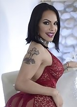 Check Out Foxxy in Red Hot Lingerie Playing with Her Hard Cock