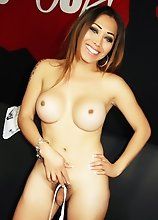 Busty Young Tranny gets fully nude in front of us
