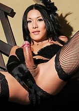 Japanese tgirl Karina Shiratori is looking sexy in her black lingerie. She has an amazing body, beautiful tits and a hard cock!