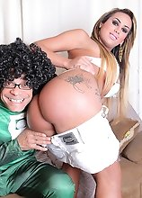 Sexy transsexual Juliana Souza loves riding huge Super Cock from Super Ramon!