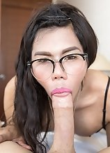 Asian Ladyboy Winnie - Bottomless Babe POV Bareback!