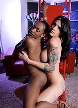 Hot ebony tgirl playing with TS Morgan Bailey