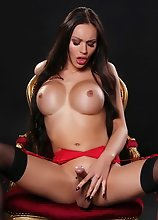 Kimber in red lingerie & black stockings